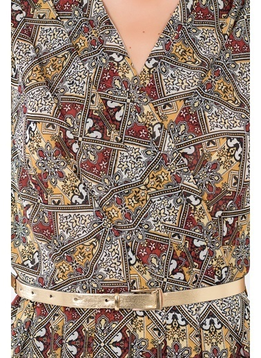 Pileli Kruvaze Uzun Abiye Elbise-İroni